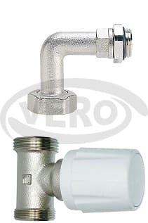 Zawór grzejnikowy termostatyczny do systemu 2-rurowego kolankowy