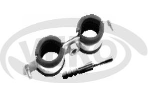 Obejma metalowa podwójna z kołkiem rozporowym i uszczelką, ocynkowana