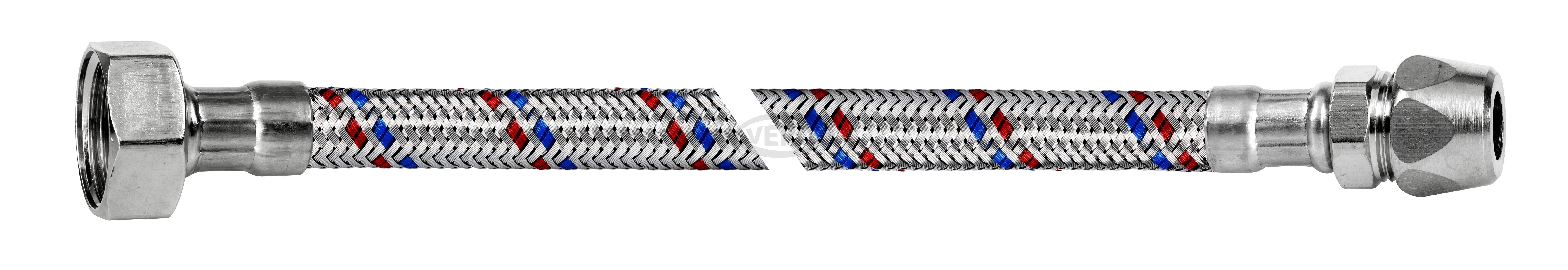 """Przyłącze elastyczne w oplocie stalowym INOX 1/2"""" GW - ZACISK"""