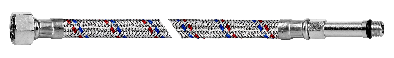 """Przyłącze elastyczne w oplocie stalowym INOX 3/8"""" GW x M10 DŁUGA"""